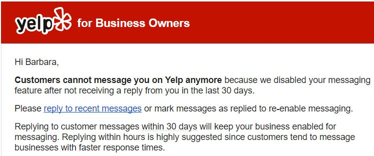 Yelp Messaging